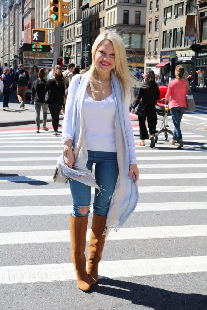 white-top-light-weight-scarf-suede-boots http://styledamerican.com/blue-x-neutrals/