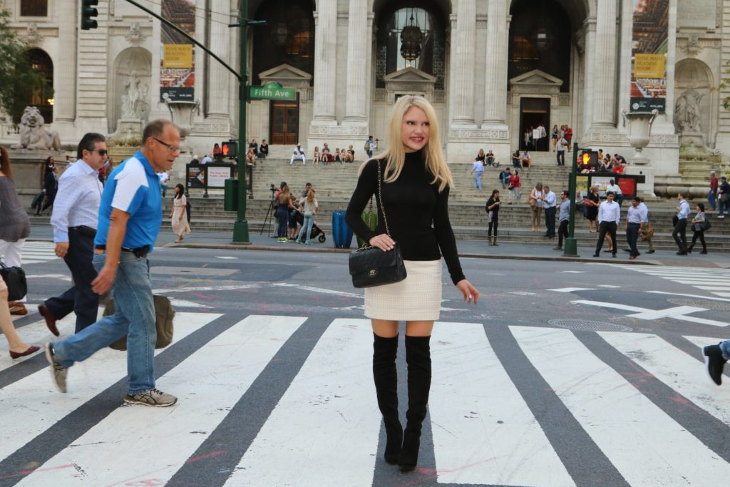 black-turtleneck-white-mini-skirt-black-boots http://styledamerican.com/debunking-white-after-labor-day/