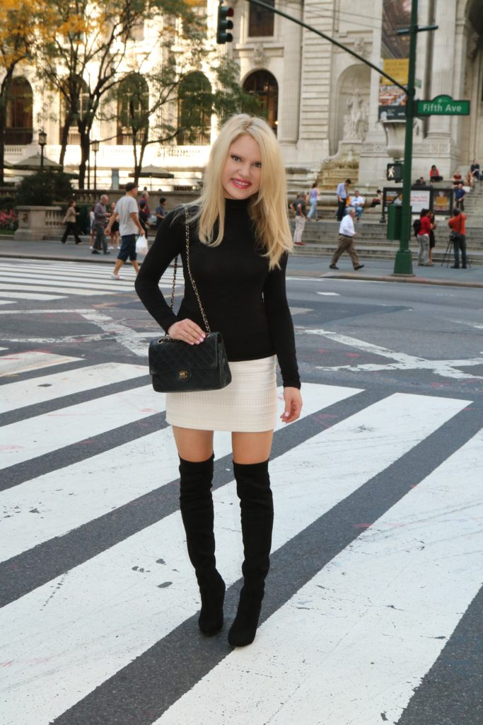 black-top-black-over-the-knee-boots-mini-skirt http://styledamerican.com/debunking-white-after-labor-day/