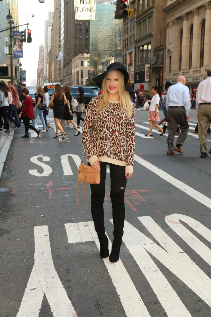 print-sweater-floppy-hat-suede-over-the-knee-boots http://styledamerican.com/the-perfect-designer-boots-dupe/