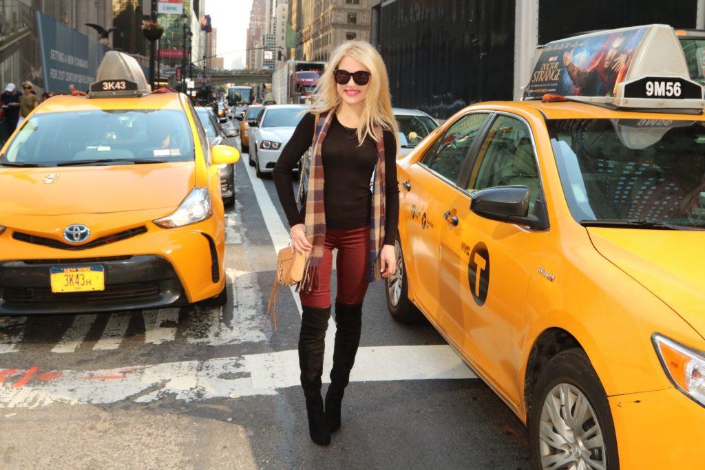 burgundy-leggings-over-knee-boots-check-scarf http://styledamerican.com/burgundy-leggings/