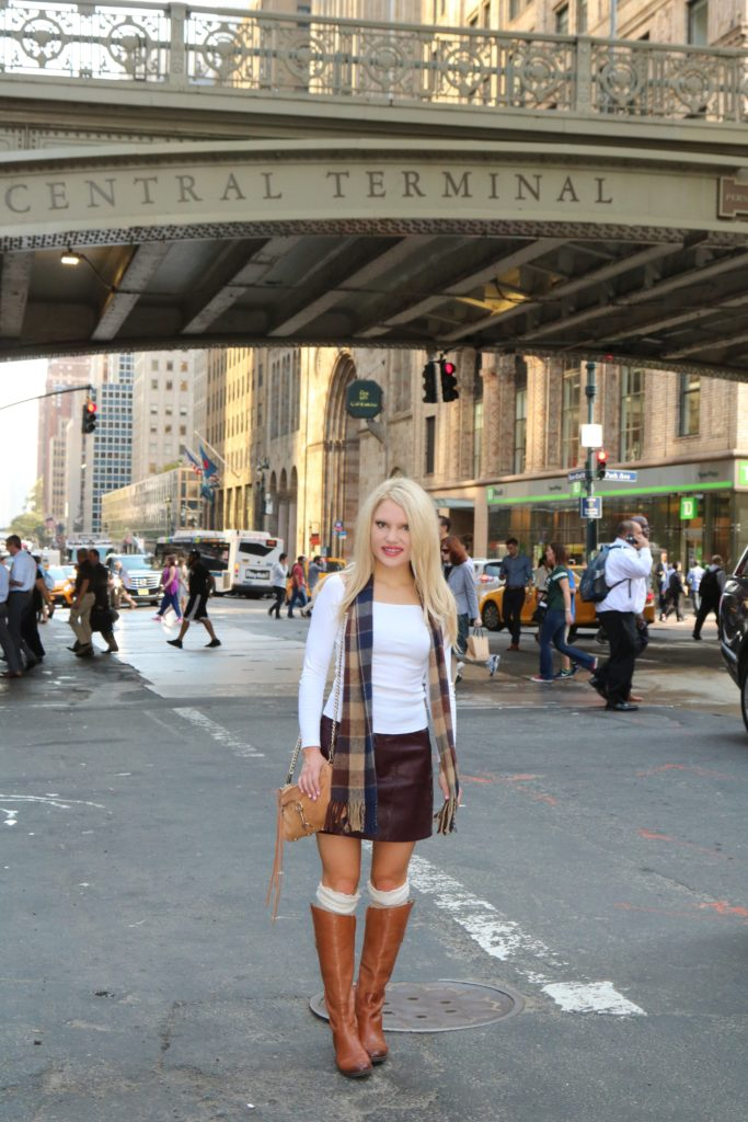 leather-skirt-purple-check-scarf-fall-style http://styledamerican.com/vintage-check-scarf/