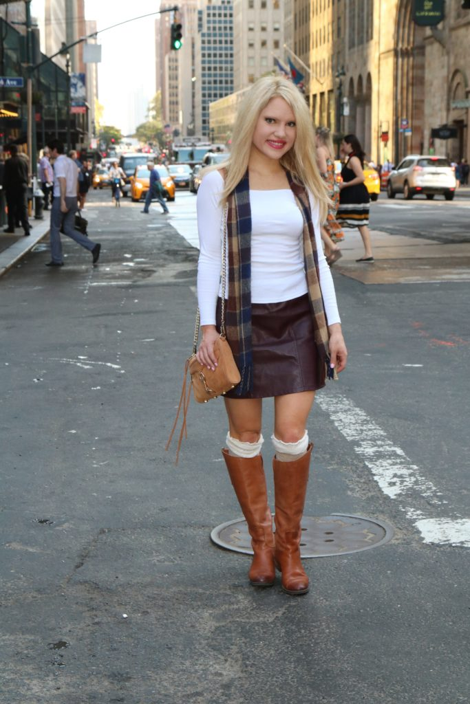 leather-mini-skirt-check-scarf-grand-central http://styledamerican.com/vintage-check-scarf/