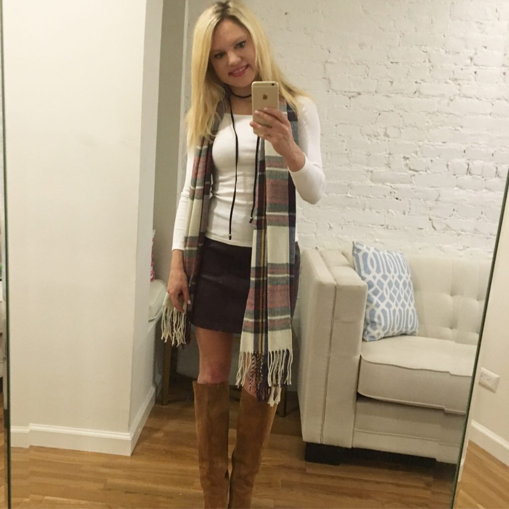 plaid-scarf-purple-leather-skirt-suede-boots http://styledamerican.com/american-favorites-fall-edition/