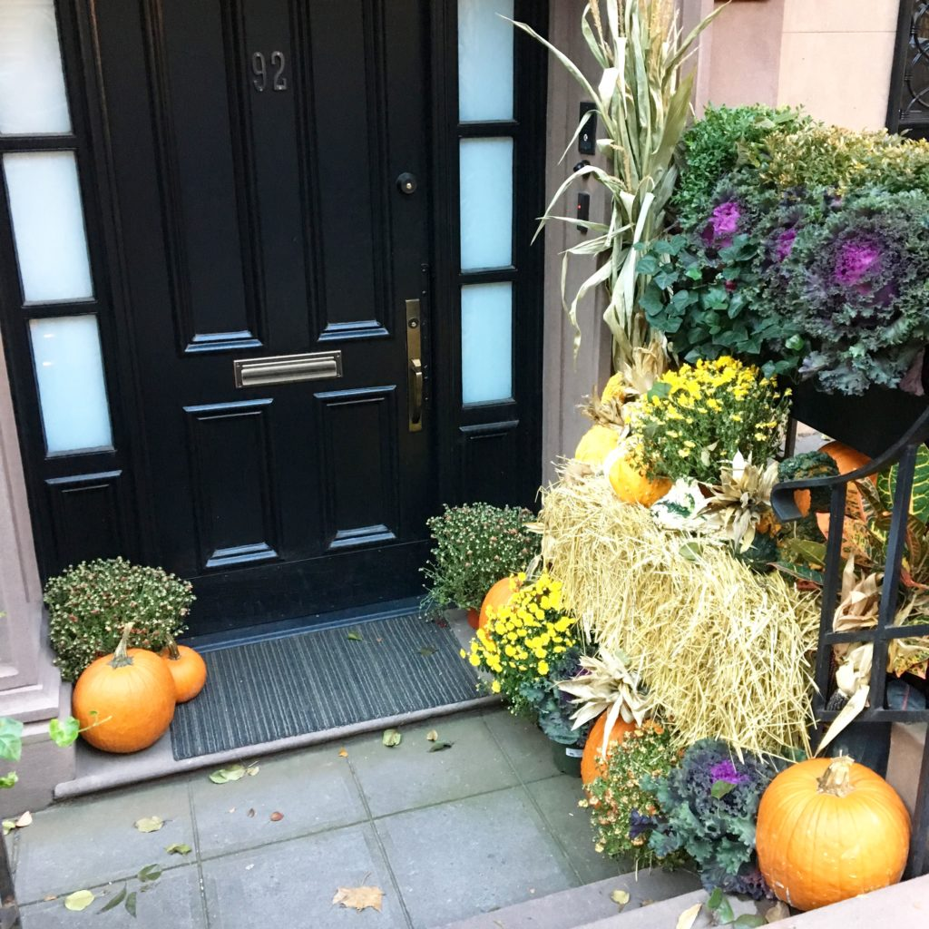 nyc-stoop-with-pumpkin-corn-stock-decor http://styledamerican.com/american-favorites-fall-edition/