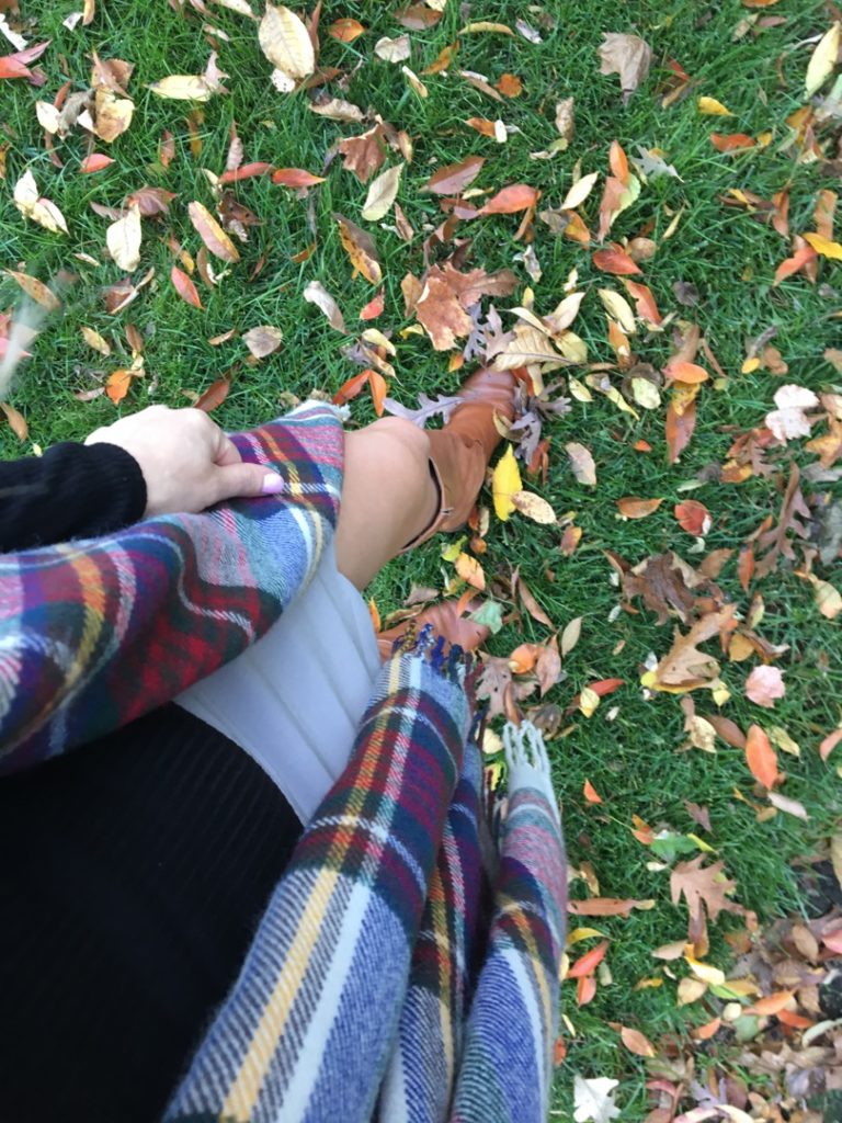 bootfie-fall-leaves-plaid-scarf http://styledamerican.com/american-favorites-fall-edition/