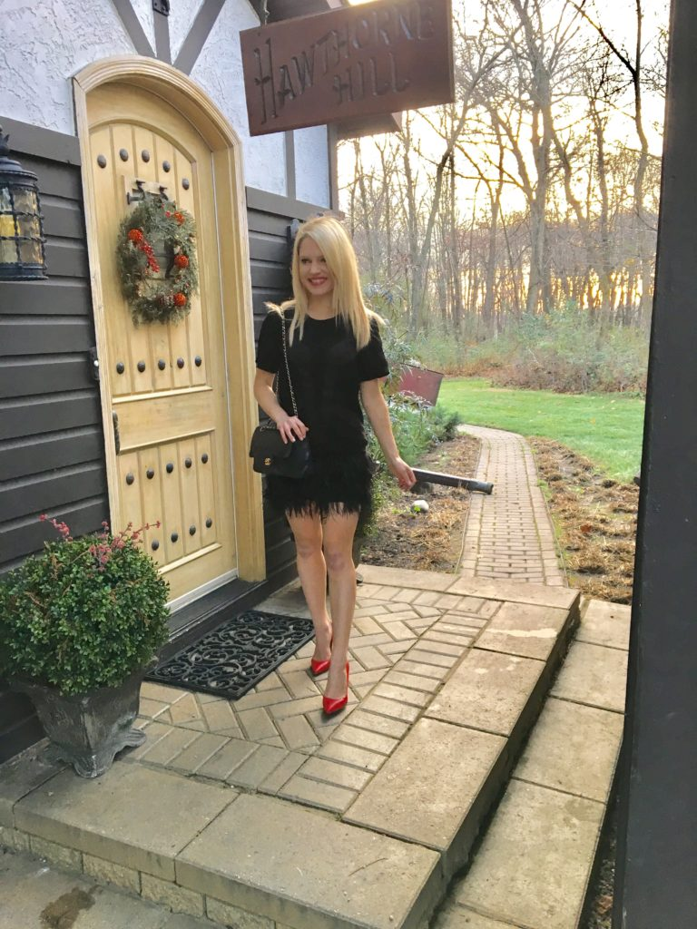 black-dress-red-pumps-carriage-house http://styledamerican.com/cocktail-dress-with-feather-hem/