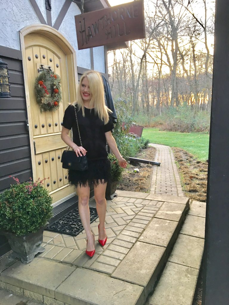 little-black-dress-red-heels http://styledamerican.com/cocktail-dress-with-feather-hem/