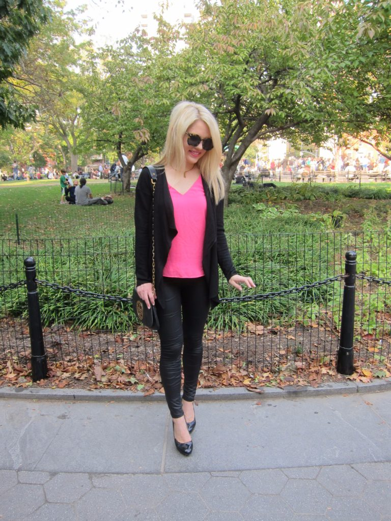 pink and black Fall outfit