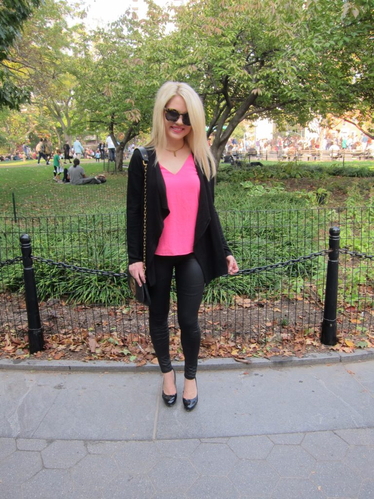 pink top, waterfall cardigan and leggings