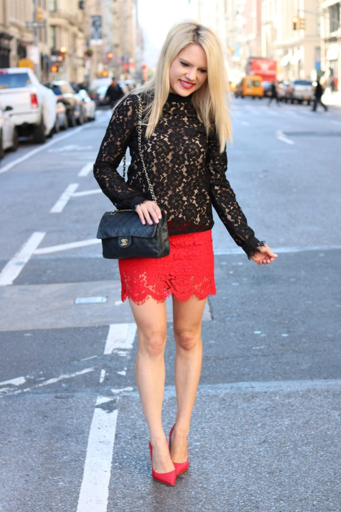 red-lace-skirt-black-lace-top http://styledamerican.com/lace-on-lace/