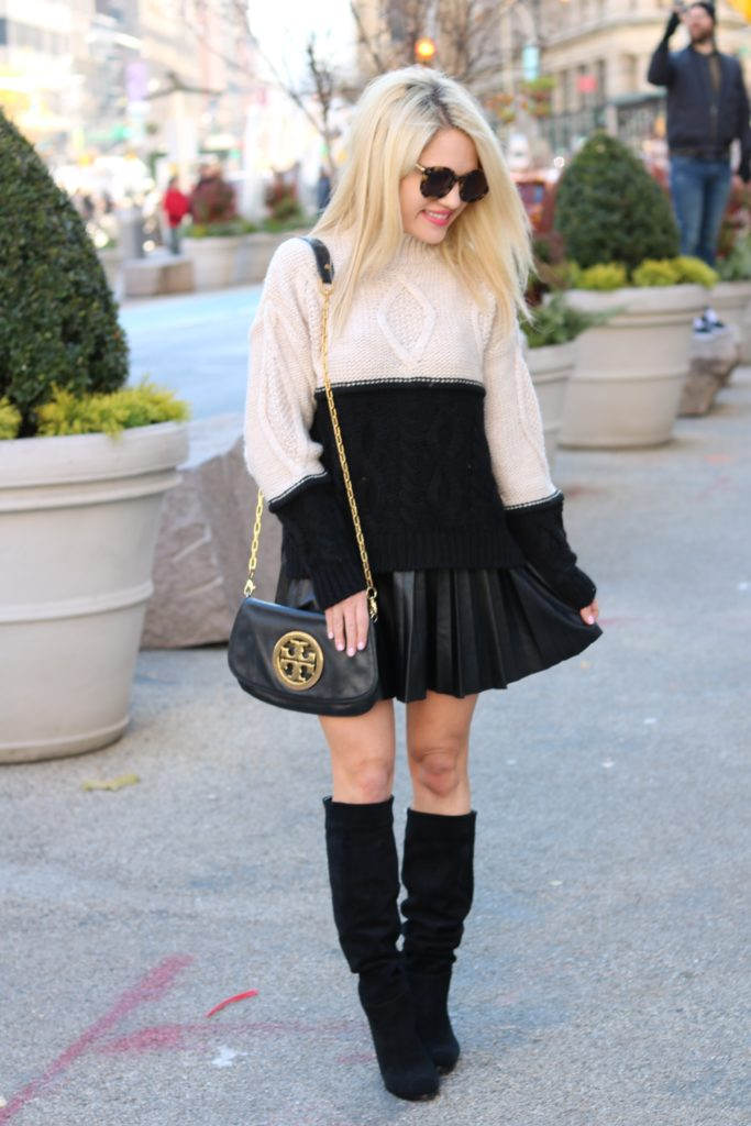 nude-sweater-black-skirt-winter-fashion http://styledamerican.com/where-to-get-designer-bags-for-less/