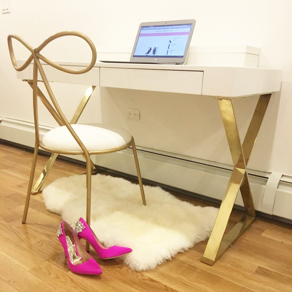 white-gold-desk-bow-chair-pink-pumps-blogging-desk http://styledamerican.com/winter-edits/