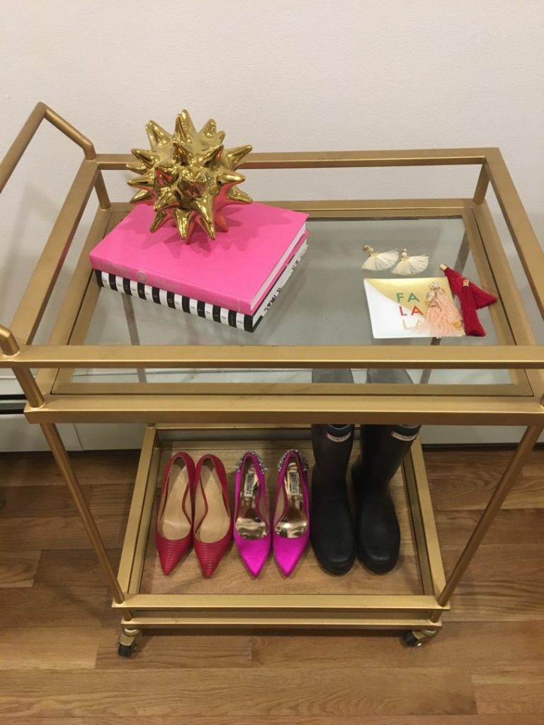 gold-bar-cart-lined-with-shoes http://styledamerican.com/winter-edits/