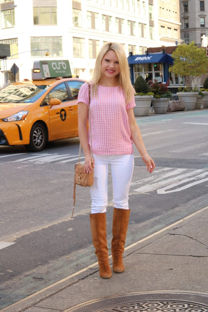 gingham top white pants http://styledamerican.com/a-major-summer-style-trend/