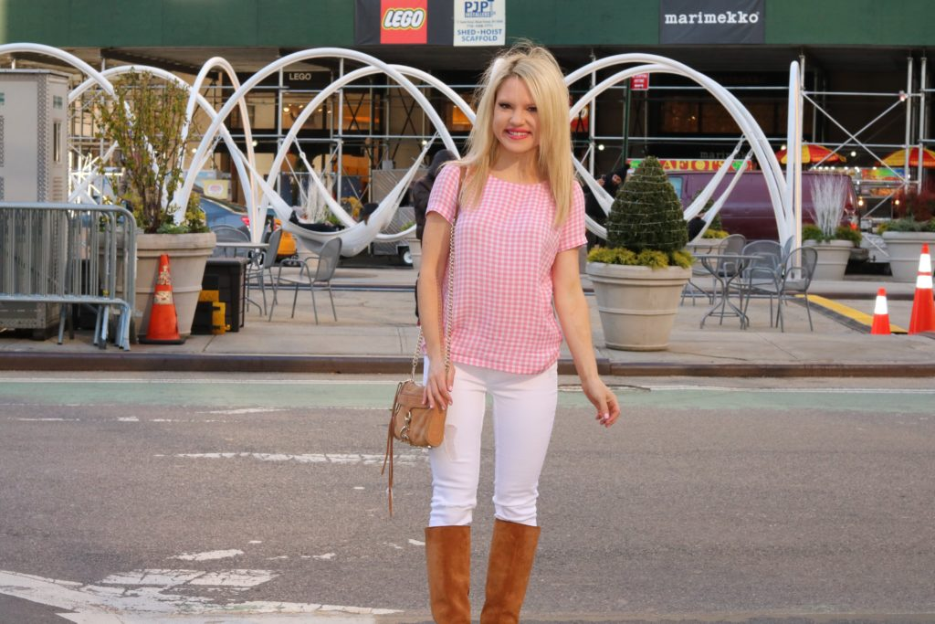 gingham top, white pants, suede boots http://styledamerican.com/a-major-summer-style-trend/