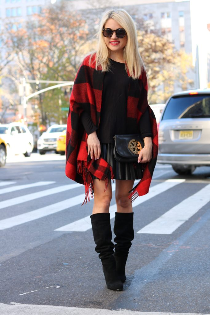red-buffalo-print-scarf-pleated-skirt http://styledamerican.com/buffalo-check-print-scarf/