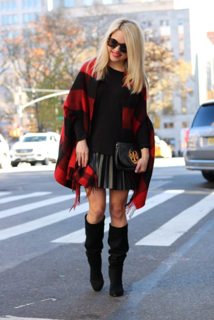 cape-scarf-pleated-skirt-black-boots http://styledamerican.com/buffalo-check-print-scarf/