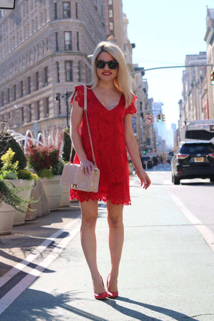 red-lace-dress-velvet-cross-body-bag http://styledamerican.com/merry-dress-mas/