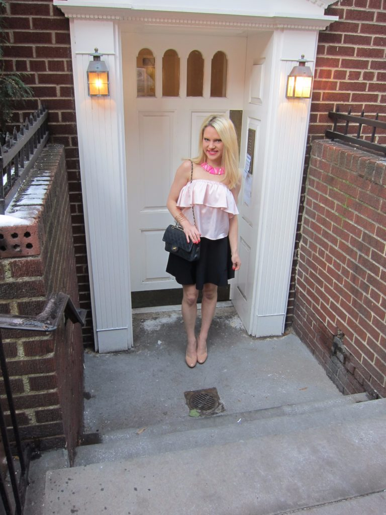 pink-tube-top-pink-statement-necklace-black-skirt http://styledamerican.com/pink-statement-necklace/