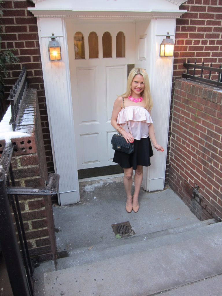 pink-black-spring-outfit http://styledamerican.com/pink-statement-necklace/