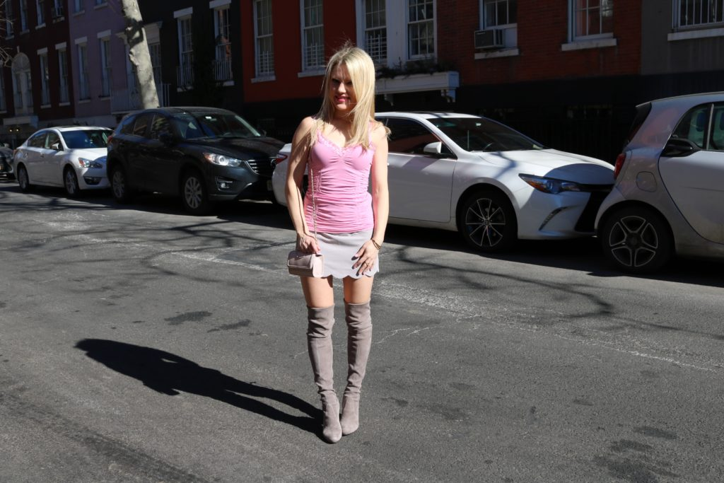 pink tank top grey skirt grey boots http://styledamerican.com/how-to-avoid-the-worst-fashion-blogging-lighting/