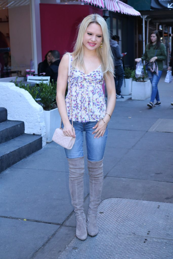 floral tank top, denim, over the knee boots http://styledamerican.com/my-favorite-dessert-spots-in-nyc/