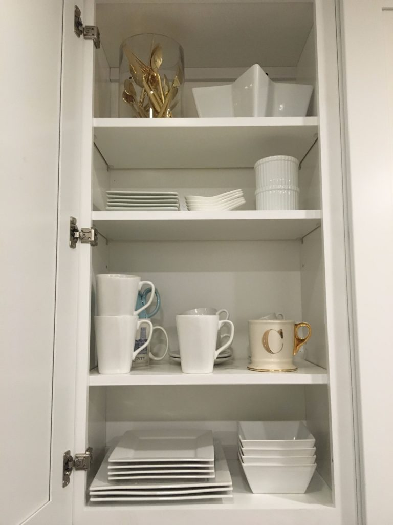 styled-white-cabinets-gold-flatware http://styledamerican.com/my-kitchen/