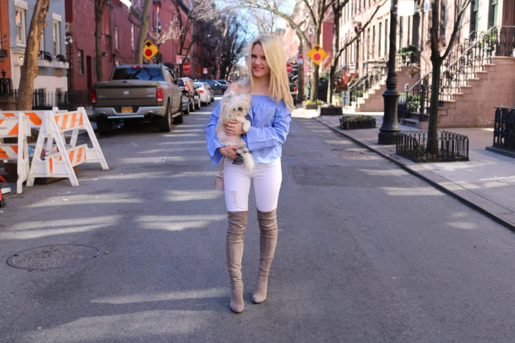 style-blogger-holding-dog http://styledamerican.com/ellies-story/
