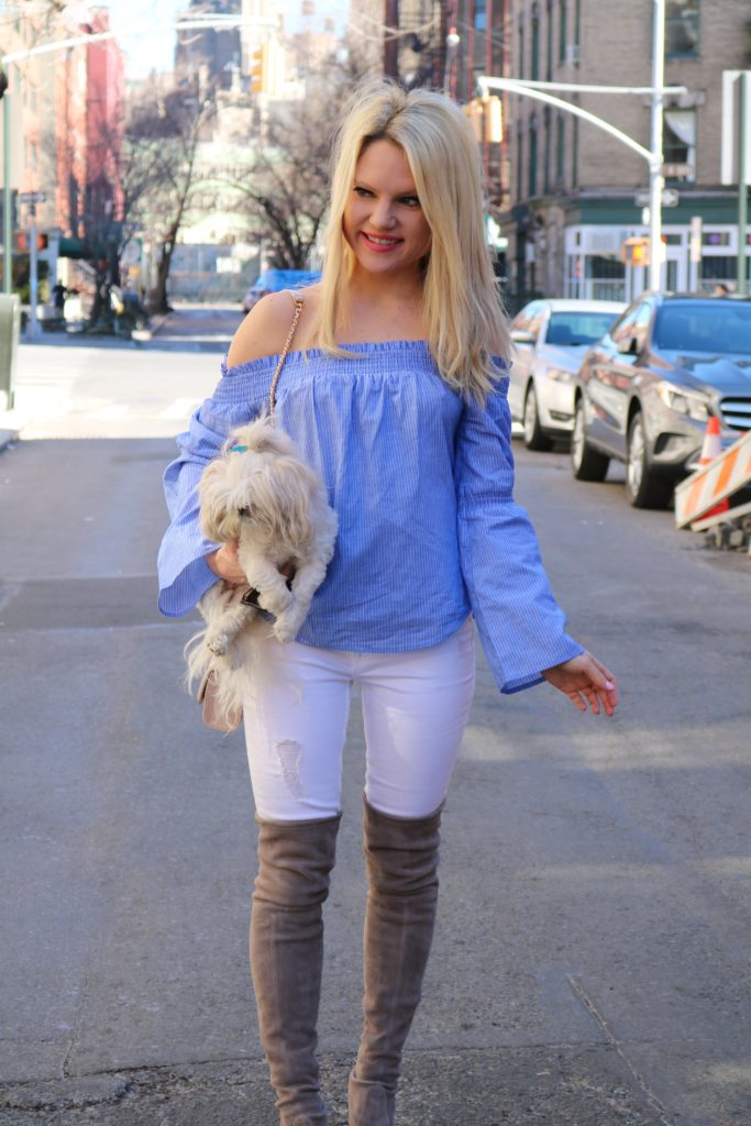 express-top-white-jeans-stuart-weitzman-boots http://styledamerican.com/ellies-story/