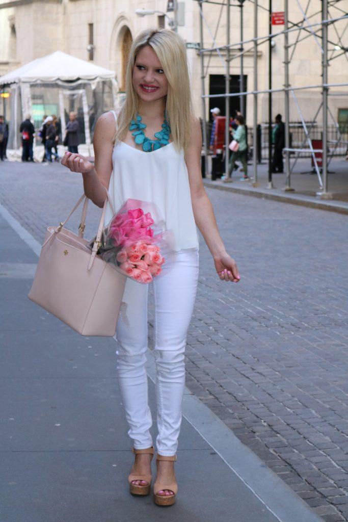 seaglass necklace, white top, white denim