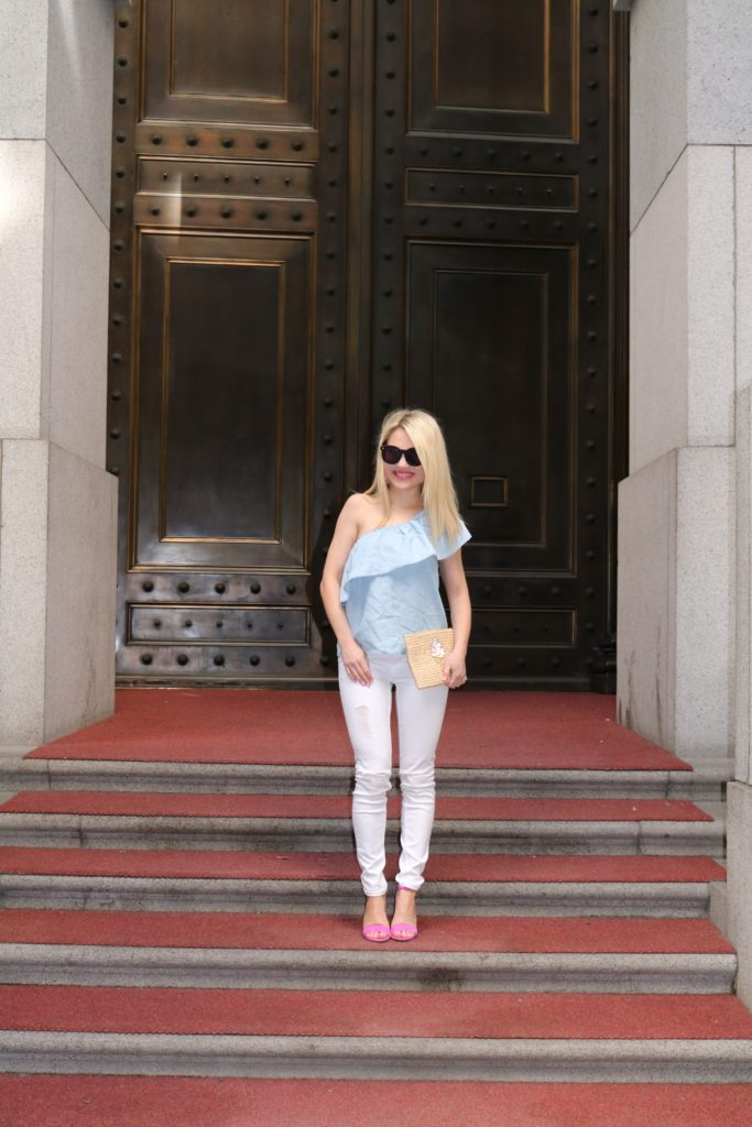 blue one shoulder top with white denim http://styledamerican.com/memorial-day-style-trends/