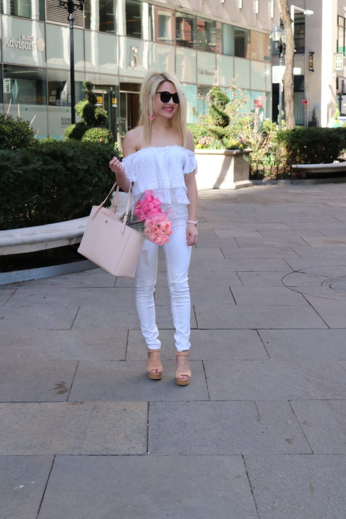 white-crop-top-white-denim-tory-burch-bag http://styledamerican.com/a-little-arm-candy-with-armitron/