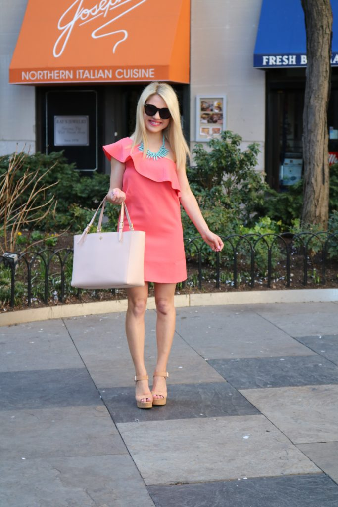 coral-one-shoulder-ruffle-dress