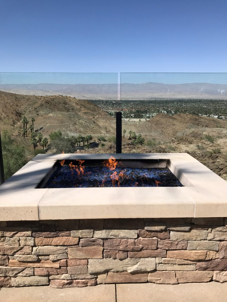 outdoor fireplace at the ritz carlton rancho mirage
