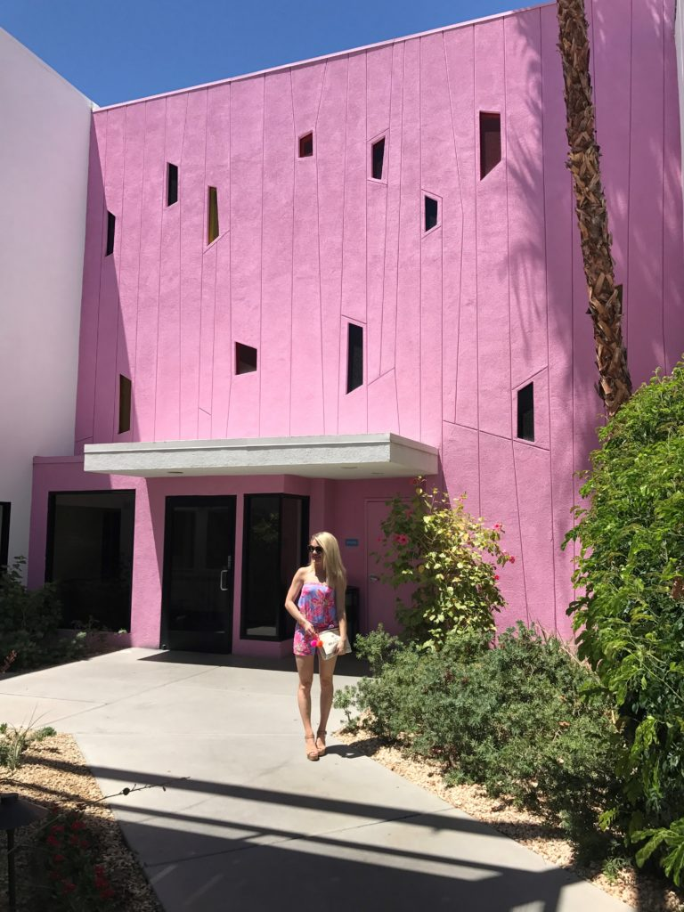 pink wall at the saguaro palm springs