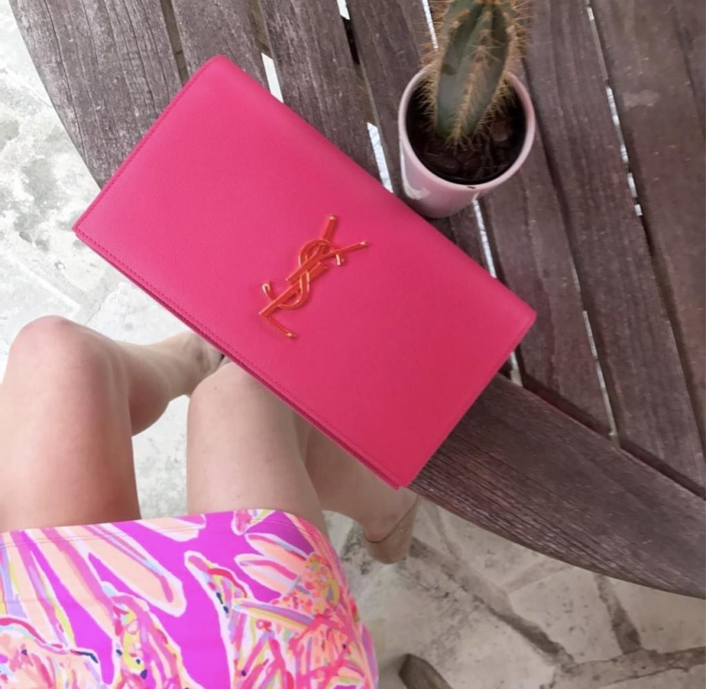 pink ysl bag with lilly pulitzer flatly shot http://styledamerican.com/instagram-roundup-summer-adventures/