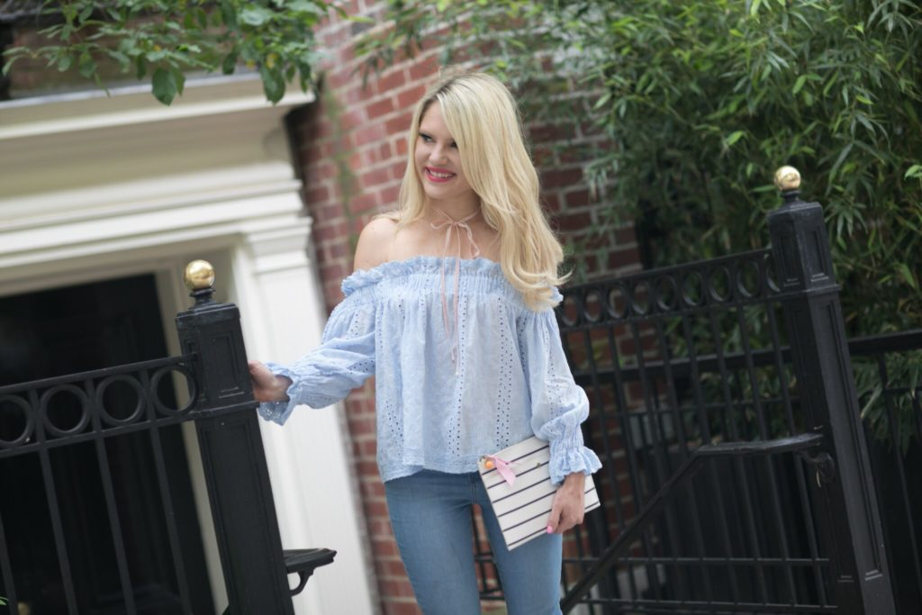 off the shoulder top and skinny jeans