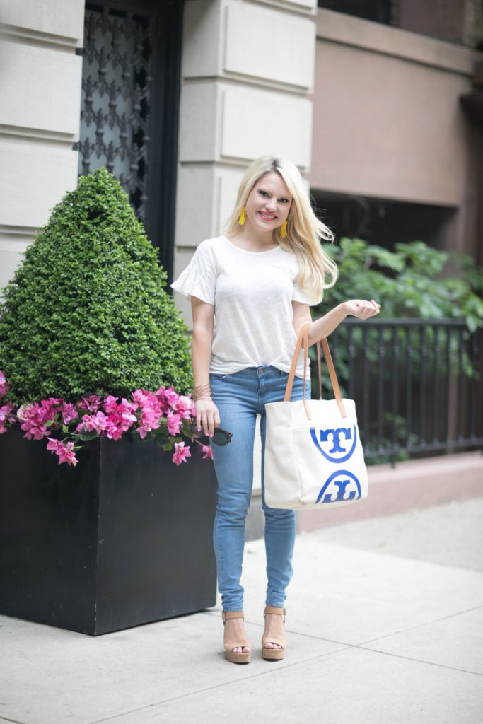 casual style white tee and denim