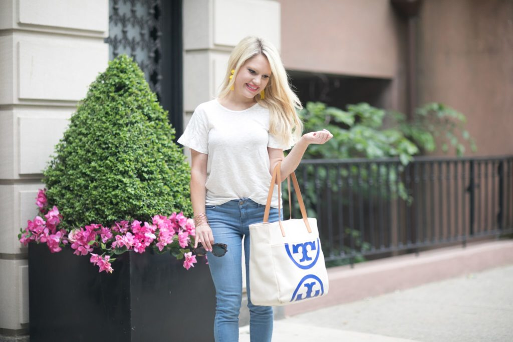 white flutter tee shirt from j.crew
