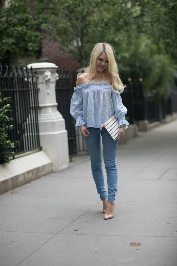 endless rose blue off the shoulder top