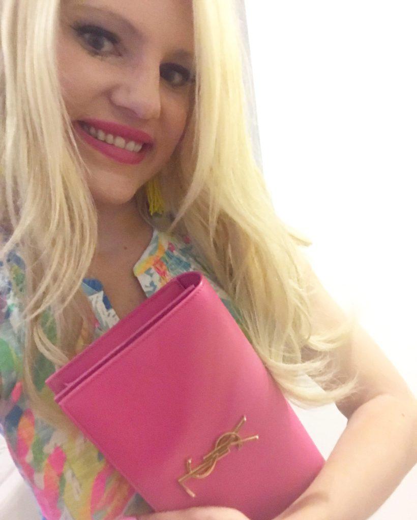 Pink YSL clutch, my new baby, pink designer clutch