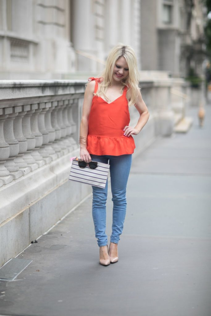 red peplum top, labor day style