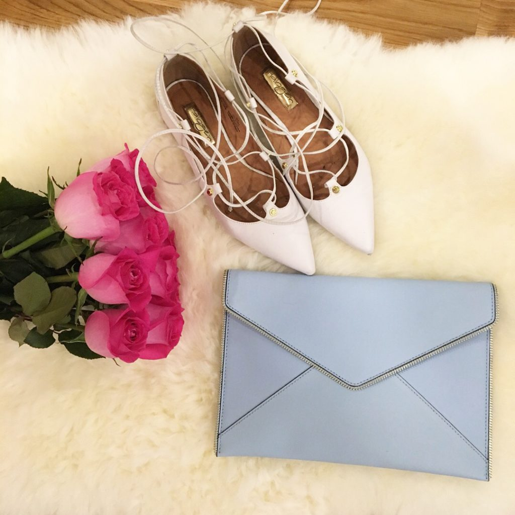 flat halogen flats, baby blue clutch, flatlay picture