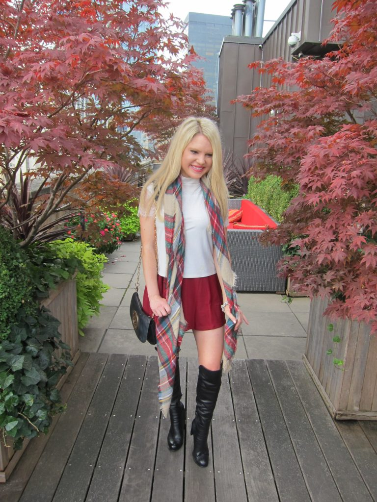 red tan plaid scarf, fall outfit