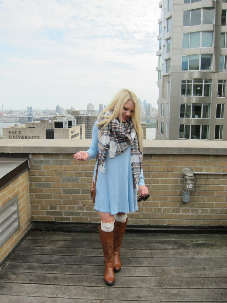plaid scarf blue swing dress