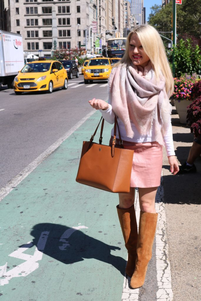 pink blanket scarf with tote bag and suede boots
