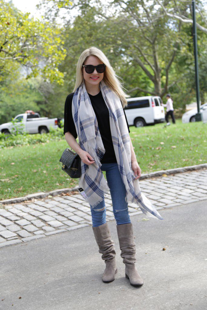 black and blue fall casual style